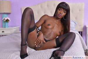 black girl in stockings